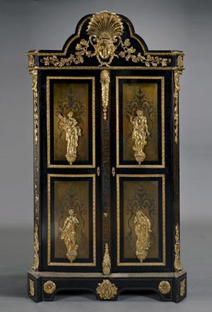 Massive Napoleon III gilt bronze boulle ebonized bonnetiere, est. $6,000-$8,000. Michaan's image.