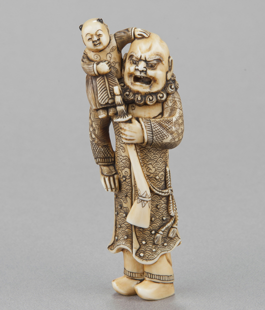 Ivory netsuke of Dutchman with karako seated on right shoulder, carved by Yoshinaga Miura Kanjuken, mid-19th century. Provenance: Purchased from R. Koscherak, 1951. Est. $1,800-$2,200. Quinn's Auction Galleries image.
