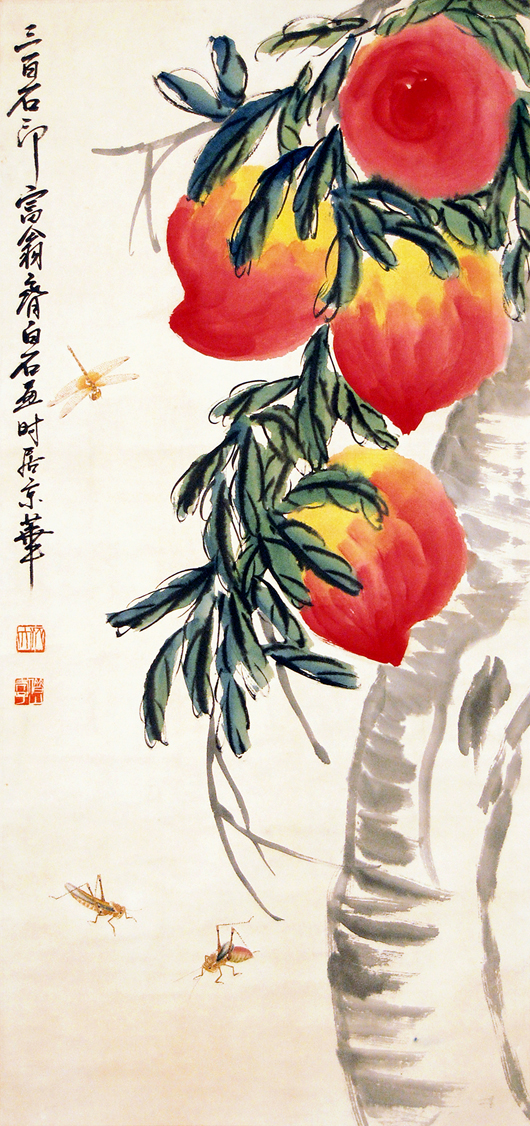 'Massive Peaches' (Lot 17) by Qi Baishi contrasts fluid brush strokes with finely detailed images of insects. Hanging scroll, ink and color pigment on paper. Signed Qi Baishi, with two artist seals. Gianguan Auctions image.