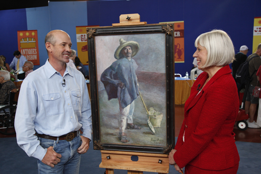 Antiques Roadshow appraiser Colleene Fesko (right) with a guest and his Diego Rivera painting. Photo courtesy of Jeffrey Dunn. All rights reserved.
