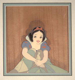 Snow White sitting up in bed in Walt Disney Productions 1937 'Snow White and the Seven Dwarves.' Hess Fine Auctions image.