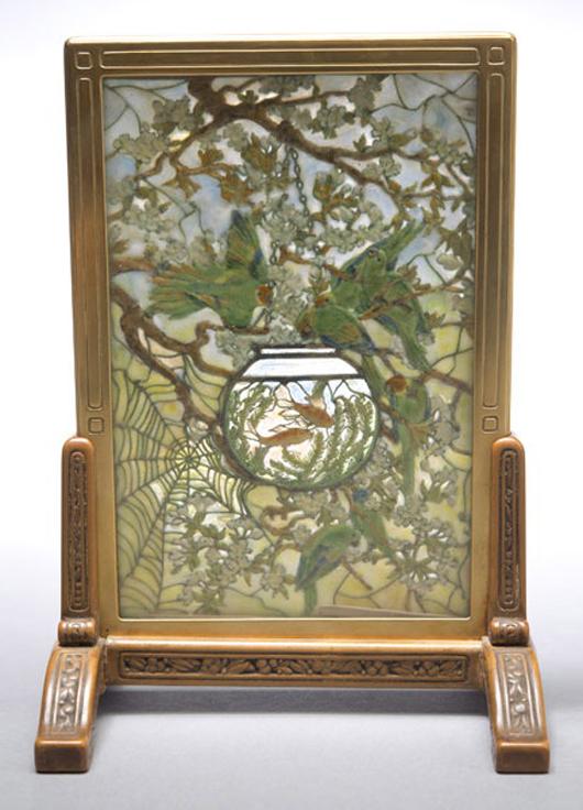Tiffany Studios 'Parakeets and Goldfish Bowl' tea screen. Sold for $324,500. Michaan's image.