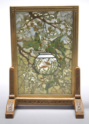 Tiffany Studios 'Parakeets and Goldfish Bowl' tea screen. Sold for $324,500. Michaan's image.