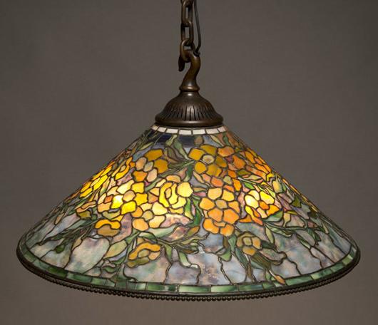 Tiffany Studios 'Alamander' chandelier. Sold for $212,400. Michaan's image.