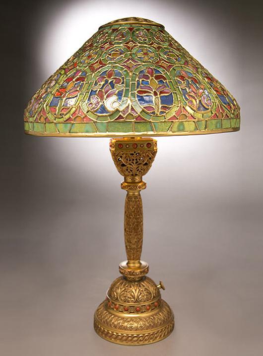 Tiffany Studios 'Venetian / Ninth Century' table lamp. Sold for $112,100. Michaan's image.