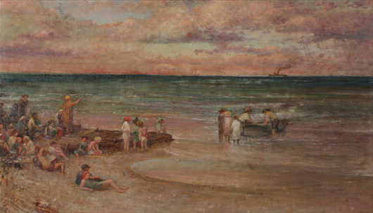 Louis Comfort Tiffany, (American 1848-1933), 'Beach Scene, Sea Bright, New Jersey,' oil on canvas. Sold for $165,200. Michaan's image.