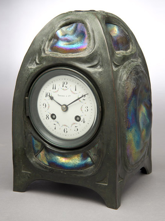 Tiffany Studios Turtleback tile clock. Sold for $76,700. Michaan's image.