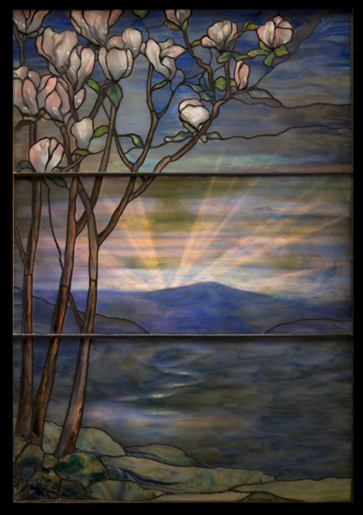 Tiffany Studios Magnolia landscape window, circa 1912. Sold for $177,000. Michaan's image.