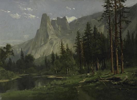 William Keith, 'Sentinel Rock, Yosemite Valley,' price realized: $36,250. Rago Arts & Auction Center image.