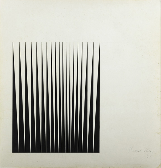 Bridget Riley, untitled, price realized:$75,000. Rago Arts & Auction Center image.