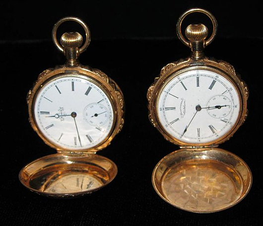 Elgin and American Waltham 14K gold pocket watches. The Specialists of the South Inc. image.