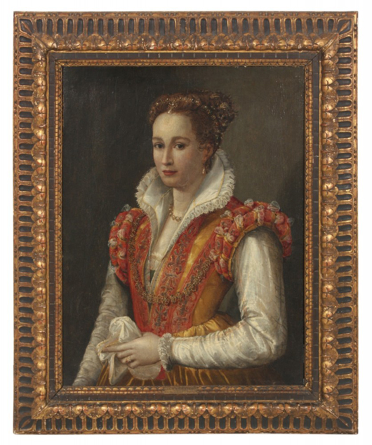 Oil on wood panel portrait attributed to 16th century Italian painter Agnolo Bronzino. Price realized: $35,400. Fontaine's Auction Gallery image.