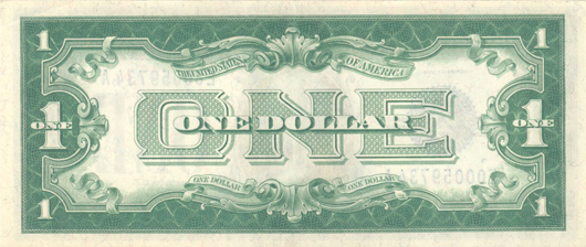 The reverse of a small-size $1 US Silver Certificate from a series issued 1928-1934 looks like this. They're commonly referred to as 'funnybacks.'