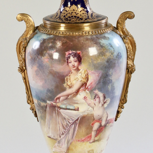 Large 19th-century Sevres Vase, France, with Sevres markings and signed 'F. Bellanger.' excellent condition. Size: 29 x 10 x 8 inches, with lamp: 44 inches tall. Property of a Philadelphia estate. Estimate: $2,000-$4,000. Material Culture image.
