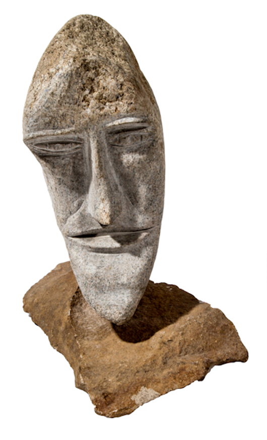 Ted Ludwiczak (b. 1927, Polish/American), 'Moon,' carved stone with stone stand. Size: 13.5 x 6 x 9 inches (overall). Estimate: $800-$1,200. Material Culture image.