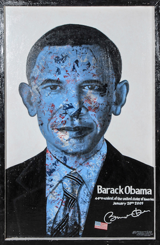 Kwame Akoto aka Almighty God (Ghanaian, b. 1950), 'Barack Obama,' oil on board. Size: 48 x 32 x 1.5 inches (frame). Estimate: $1,000-$1,500. Material Culture image.