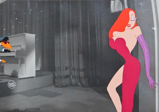 Walt Disney Company, Jessica Rabbit, original hand-painted animation art cel. Provenance: Barker Animation Art Gallery. Size: 15 x 19 inches (frame), 9.75 x 14 inches (sight). Estimate: $1,000-$1,500. Material Culture image.