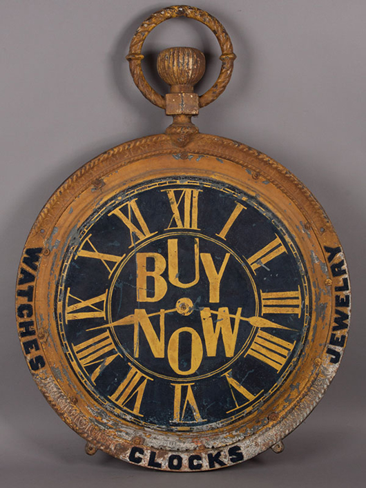 Large antique watch sign, $2,040. Jeffrey S. Evans image.