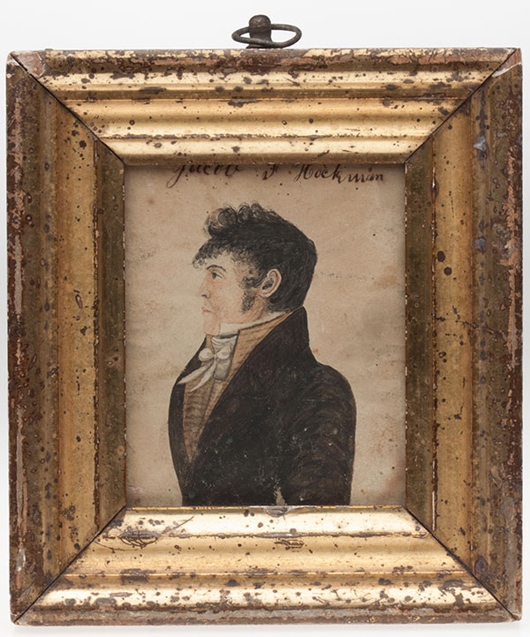 Miniature of Jacob F. Hackman attributed to Caleb Davis, circa 1820, $7,475. Jeffrey S. Evans image.