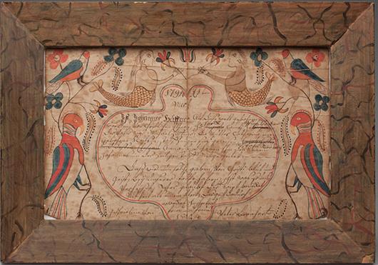 Fraktur by Peter Bernhart, 1804, $16,000. Jeffrey S. Evans image.