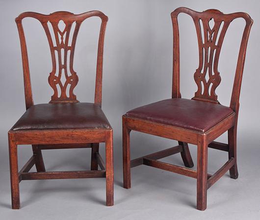 Pair of chairs from Tidewater region of Virginia, $16,100. Jeffrey S. Evans image.