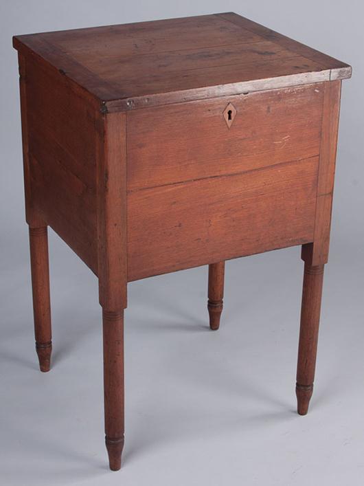 Inscribed bottle case or sugar chest referencing Boston, Culpeper County, Va., $4,025. Jeffrey S. Evans imag