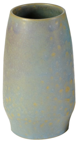 After an illustrious career in the eastern half of the U.S., Frederick Rhead started a pottery in Santa Barbara, Calif., where he created this mottled blue to violet drip glaze vase. It carries a $1,500 to $2,500 estimate. Clars Auction Gallery image.
