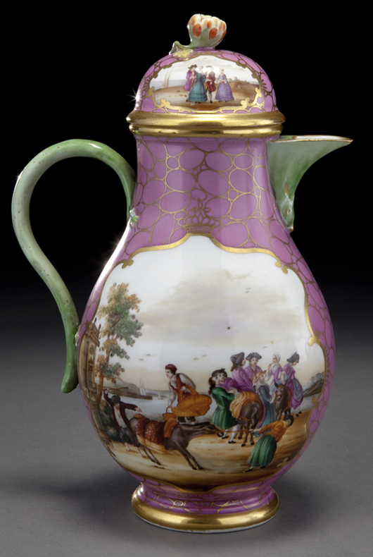 In September, the Dallas Auction Gallery sold a 31-piece Meissen coffee and tea service from the 19th century for $10,625 with buyer's premium. This detail of the coffeepot reveals the exquisitely painted topographical scenes for which the firm was celebrated. Courtesy Dallas Auction Gallery.