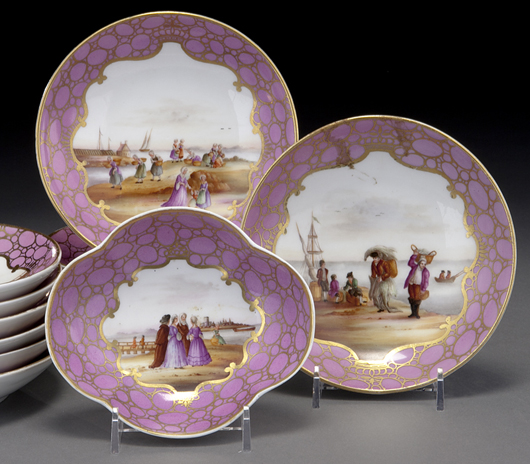 Each piece in the elaborate service was painted with a unique view of figures on the shoreline. The lot was part of a consignment of Meissen from the family of Mimi and Herman W. Lay, founder of H.W. Lay & Co. and former CEO of Frito Lay and Pepsico. Courtesy Dallas Auction Gallery.