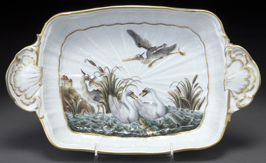 This elegant swan platter, 19th century after an 18th century model by J.J. Kandler, brought $1,125 at auction in Dallas this fall. The original Swan Service – over 2,000 pieces commissioned by Count Bruhl – was the most famous ever made at Meissen. Courtesy Dallas Auction Gallery.
