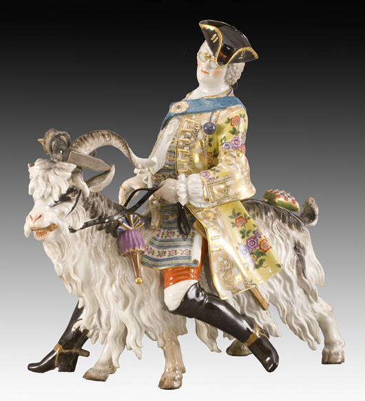 This satirical figure of Count Bruhl's tailor astride a shaggy goat, late 19th century after the 18th century model by J.J. Kandler, sold for $14,340 in 2009. The original statuette appeared on the king's table as part of a complex centerpiece. Courtesy Dallas Auction Gallery.
