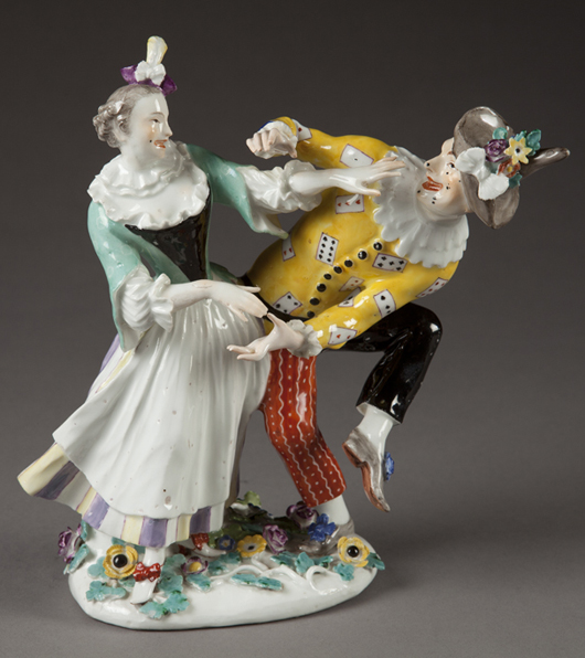 Meissen master Johann Joachim Kandler began modeling figures from the Italian commedia dell'arte in 1735. This circa 1744 group from the Stout Collection depicts a dancing harlequin and columbine. Courtesy Dixon Gallery and Gardens.
