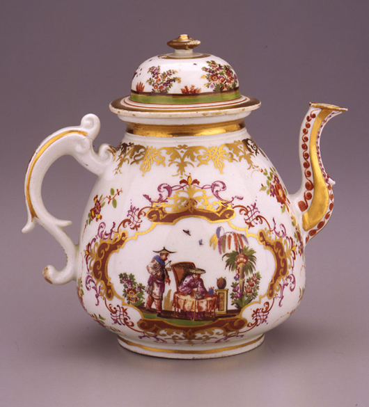 The collection of Warda Stevens Stout at the Dixon Gallery and Gardens in Memphis is one of the most important Meissen collections in American museums. This teapot, circa 1725, is decorated with the chinoiserie scenes popular in the factory's early years. Courtesy Dixon Gallery and Gardens.