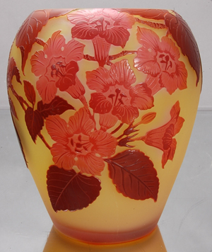 Emile Galle French cameo art glass vase, signed, leaf and floral design, 6 inches tall. Est. $350-$525. Bruhns Auction Gallery image.