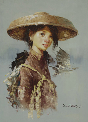 'Young Woman with Junk Boat' by Lee Man Fong (Indonesian 1913-1988), oil on canvas, topped the day's bidding at $9,440. Michaan's Auctions image.