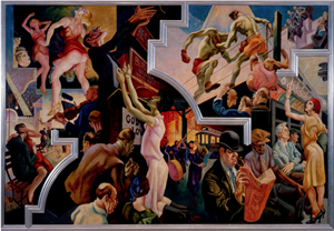 Thomas Hart Benton (American, 1889–1975), 'City Activities with Subway,' from 'America Today, 1930–31.' Ten panels: distemper and egg tempera on gessoed linen with oil glaze. The Metropolitan Museum of Art, New York, Gift of AXA Equitable [2012]. Image courtesy of The Metropolitan Museum of Art, New York.