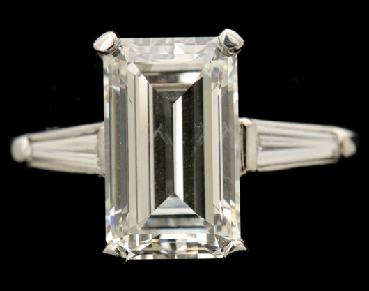 Diamond, platinum ring. Sold for $21,240. Michaan's Auctions image.