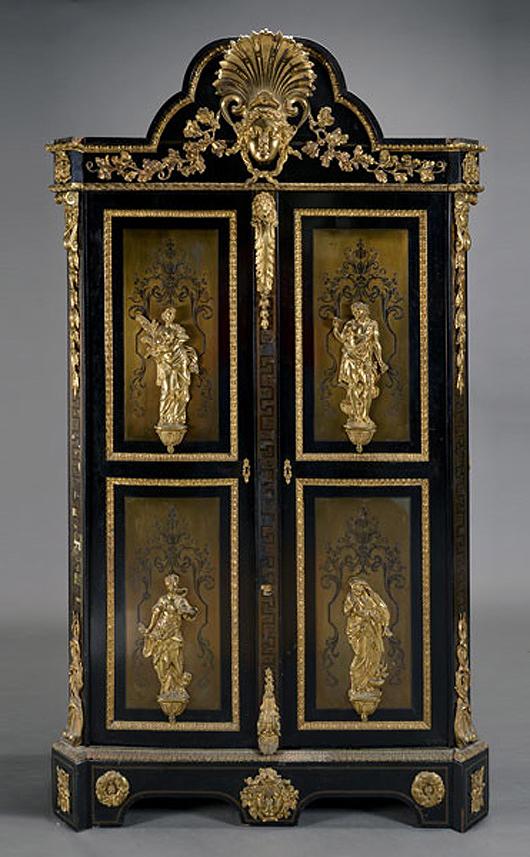 Massive Napoleon III gilt bronze boulle ebonized bonnetiere. Sold for $10,620. Michaan's Auctions image.
