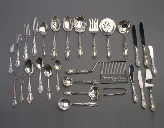 Towle sterling flatware service in the King Richard pattern. Sold for $9,440. Michaan's Auctions image.