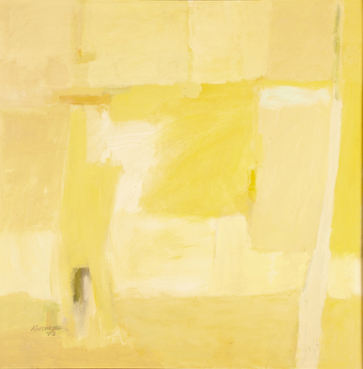 'Yellow Study' brought $16,132.50 in Neal's November sale, doubling its $6,000-$8,000 estimate. This very early work of Kohlmeyer's was painted shortly after she received her M.F.A. from Tulane, studied with Hans Hoffman in Massachusetts, and met Mark Rothko in New Orleans. Courtesy Neal Auction Company