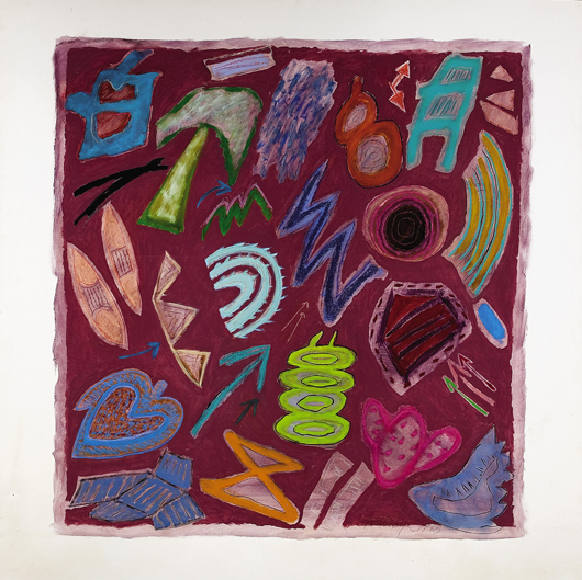 'Semiotic Plum,' the brightly colored companion work to Semiotic Blue, sold for $35,380. The same bidder purchased both paintings. Courtesy Neal Auction Company