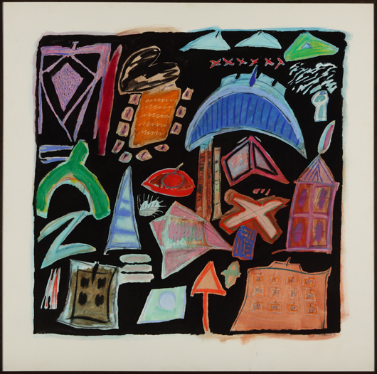 'Synthesis BB,' mixed media on canvas from 1983, is composed of the bold symbols that dominated Kohlmeyer's later work. Courtesy New Orleans Museum of Art; Promised Gift of Arthur Roger