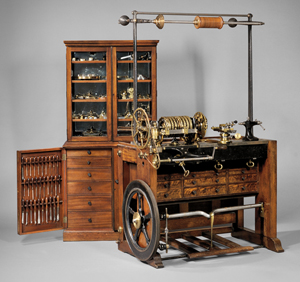 Holtzapffel & Co. rose engine lathe No. 1636 and cabinet of accessories, London, 1838. Estimate:$70,000-$90,000, sold for $228,000. Skinner Inc. image.
