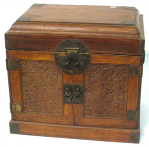 Finely carved Chinese Huanghuali chest, 12 1/2 inches by 13 1/2 inches (est. 2,000-$4,000). Gordon S. Converse & Co. image.