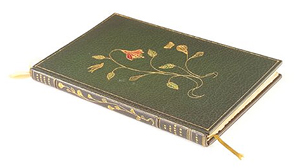 An exceptional Roycroft book by Elbert Hubbard, 'Old John Burrough,' 1901, bound in full levant, handmade paper with watercolors by Clara Schlegel and Richard Kruger. Image courtesy of LiveAuctioneers.com Archive and Rago Arts and Auction Center.