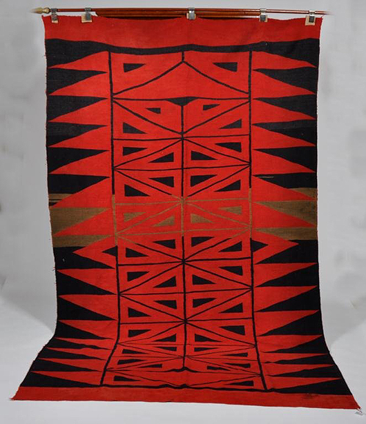 Turn of the century Native American woolen blanket, 114 1/2 x 68 inches. Estimate; $3,000-$5,000. John McInnis Auctioneers image.