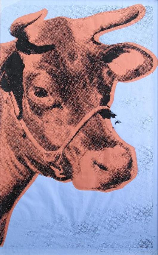 Signed Andy Warhol silkscreen on wallpaper 'Cow.' Estimate: $15,000-$20,000. John McInnis Auctioneers image.