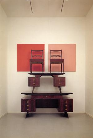 John Armleder Furniture Sculpture 254, 1991, 2 desks, 2 chairs, 2 canvas, 2 black glasses. Photo by Claudio Abate, courtesy Massimo De Carlo, Milan/London.