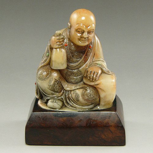 Chinese soapstone Luohan carving, Qing Dynasty, size: 13 x 11 centimeters. Estimate: $1,000-$1,500. CY Antiques Gallery image.