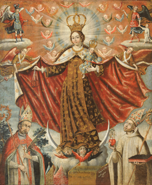 'Our Lady of Mount Carmel with Bishop Saints,' 1764. Gaspar Miguel de Berrío, Bolivia, Potosí1706 - after 1764. Oil on canvas. Promised gift of the Roberta and Richard Huber Collection. Image courtesy Philadelphia Museum of Art.